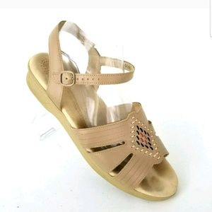 SAS EMBROIDERY NATIVE TRIBAL BEIGE BROWN SANDALS